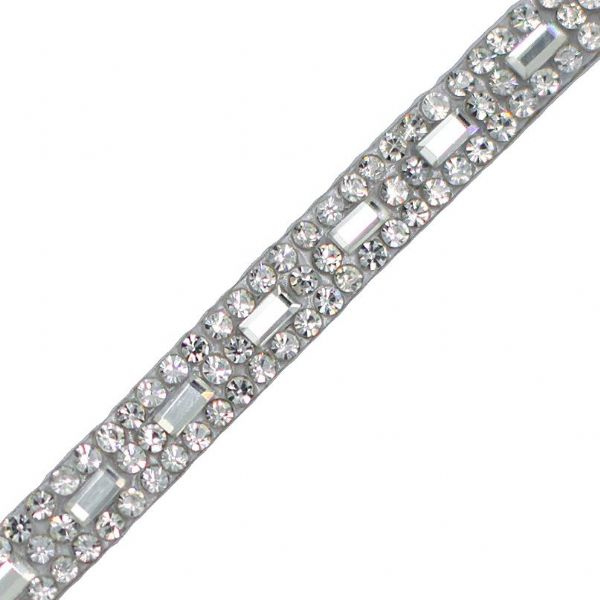 1 metre x  7 mm  Clear crystals with rectangular centre line